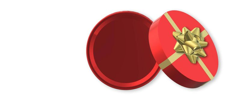 Red gift box with gold ribbon on white. Open box, top view. Isolates on white. Mock up. 3D illustration