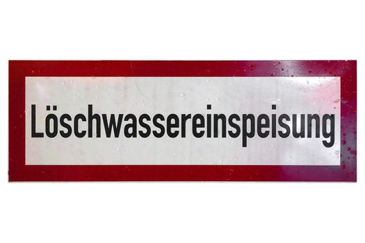 German sign isolated over white. Estinguishing water supply