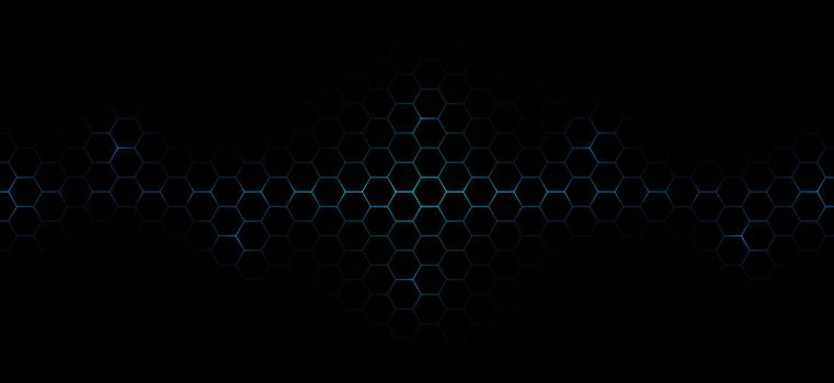 Abstract technology futuristic concept dark hexagons pattern with glowing blue bright energy flashes under hexagon background. Vector illustration