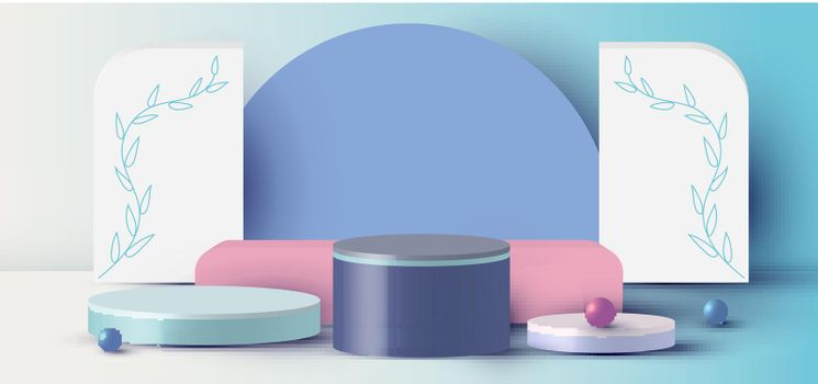3D rendering with podium cylinder, sphere, rectangle abstract minimal scene with geometric platform on blue background. Stand to show cosmetic products. Stage showcase on pedestal modern 3D studio pastel
