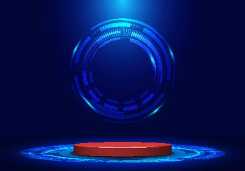 Blank display pedestal stage or red podium for showcase product in futuristic technology demonstration with circle vector HUD, GUI, UI interface screen design blue background. Vector illustration