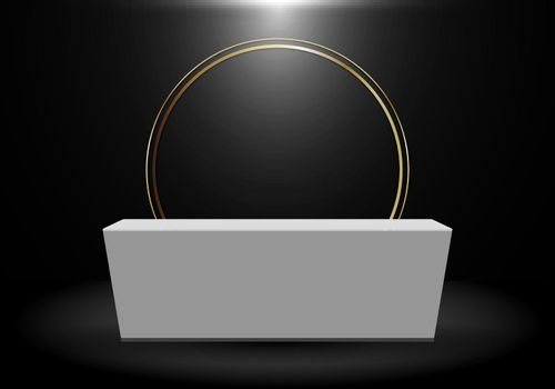 3D rendering realistic black product shelf standing backdrop with gold circle blank white pedestal podium display on dark background. Stage floor for your graphic. Studio show of modern luxury interior. Vector illustration.