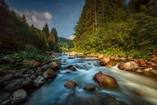 Amazing Landscape of a Beautiful Streaming River with Stony Bottom and Banks along Gorgeous Carpathian Mountains. Wild Nature of Ukraine.