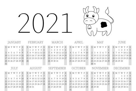 Calendar 2021. Monthly calendar 2021 from Sunday to Saturday. Yearly Planner. Templates with cute hand drawn bull. Vector illustration with adorable character. Page for print. Cute cow. Symbol 2021.