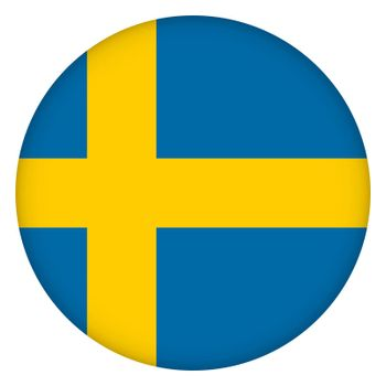 Flag of Sweden round icon, badge or button. Swedish national symbol. Template design, vector illustration.