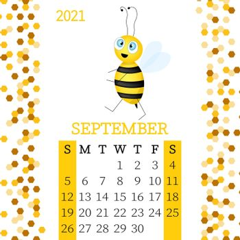 Calendar 2021. Monthly calendar for September 2021 from Sunday to Saturday. Yearly Planner. Templates with cute hand drawn bee. Vector illustration. Great for kids. Calendar page for print.
