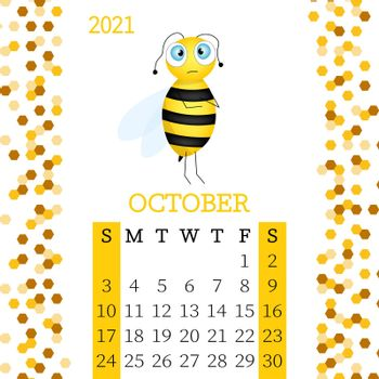 Calendar 2021. Monthly calendar for October 2021 from Sunday to Saturday. Yearly Planner. Templates with cute hand drawn bee. Vector illustration. Great for kids. Calendar page for print.