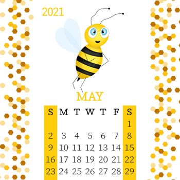 Calendar 2021. Monthly calendar for May 2021 from Sunday to Saturday. Yearly Planner. Templates with cute hand drawn bee. Vector illustration. Great for kids. Calendar page for print.