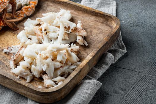 Mixed brown white crabmeat boiled set, on gray background , with copyspace and space for text