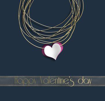 Luxury Elegant Happy valentine day template design. Gold frame, heart on black blue background. Text Happy Valentine's day. 3D render. Luxury poster template Invitation