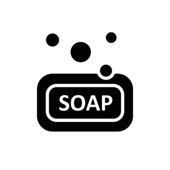 Soap vector glyph icon. Hygiene sign. Graph symbol for medical and household chemicals web site and apps design, logo, app, UI