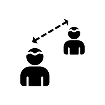 Social distancing glyph icon vector. Quarantine measures sign. Coronavirus. Graph symbol for medical web site and apps design, logo, app, UI