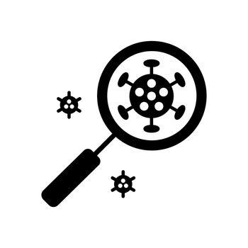Coronavirus under magnifying glass vector glyph icon. Novel coronavirus. Graph symbol for medical web site and apps design, logo, app, UI