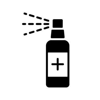 Anti-bacterial sanitizer spray, hand sanitizer vector glyph icon. Coronavirus. Graph symbol for medical web site and apps design, logo, app, UI