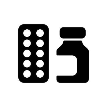 Medicine jar and pills strip vector glyph icon. Medical sign. Coronavirus. Graph symbol for medical web site and apps design, logo, app, UI