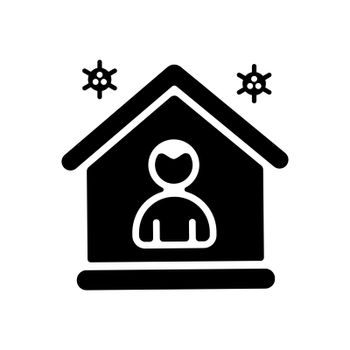 I stay at home vector glyph icon awareness social media campaign and coronavirus prevention. Graph symbol for medical web site and apps design, logo, app