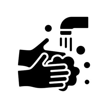 Washing hands with soap to prevent virus and bacteria vector glyph icon. Coronavirus. Graph symbol for medical web site and apps design, logo, app, UI