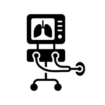 ICU ventilator vector glyph icon, medical therapy for lungs ventilation. Intensive care for COVID-19. Medical sign. Coronavirus
