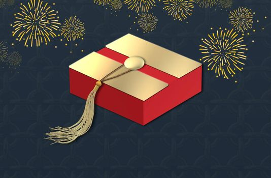 Happy new year banner, gift box with gold tassel, fireworks. Chinese festival celebration. 3D illustration
