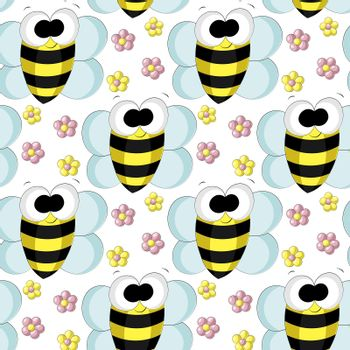 Seamless vector pattern with cute cartoon bee and flower