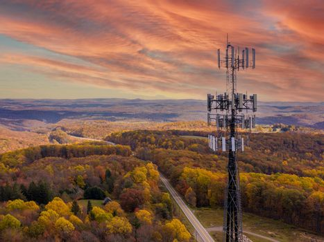 Cell phone or mobile service tower in forested area of West Virginia providing broadband service