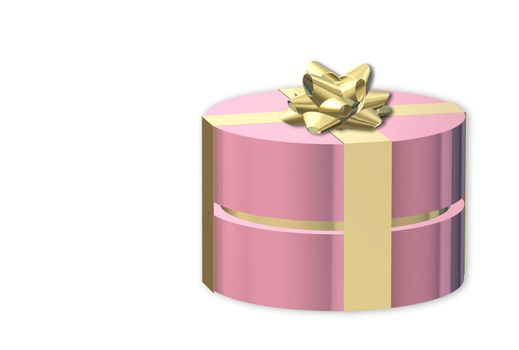 Gifts box. Pink gift box side view with gold bow. White background. Horizontal banner, poster, header website. Place for text, copy space. 3D illustration