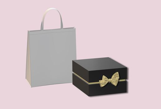 Gift box with golden bow, paper bag on pastel pink background. Black box side view, place for text, mock up. Valentines, love design, sale, surprise, gift, birthday, wedding, Valentines 3D render