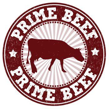 Prime beef grunge rubber stamp