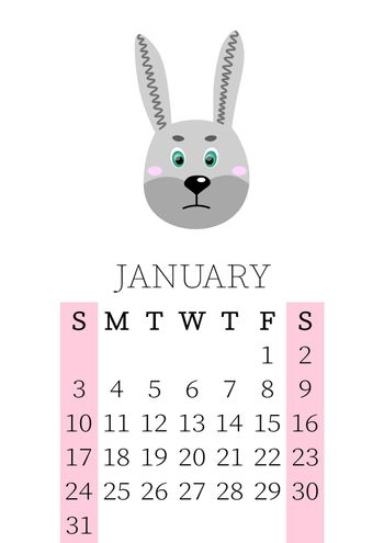 Calendar 2021. Monthly calendar for January 2021 from Sunday to Saturday. Yearly Planner. Templates with cute hand drawn face animals. Vector illustration. Great for kids. Calendar page for print.