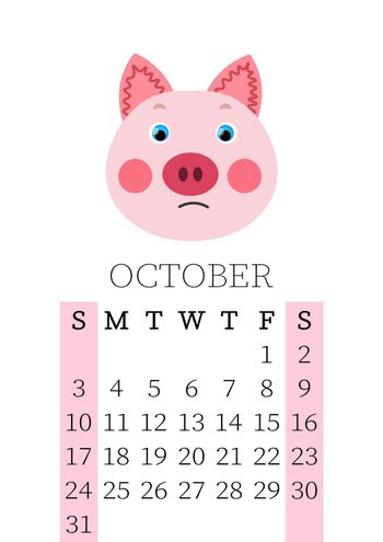 Calendar 2021. Monthly calendar for October 2021 from Sunday to Saturday. Yearly Planner. Templates with cute hand drawn face animals. Vector illustration. Great for kids. Calendar page for print.