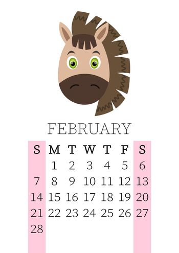 Calendar 2021. Monthly calendar for February 2021 from Sunday to Saturday. Yearly Planner. Templates with cute hand drawn face animals. Vector illustration. Great for kids. Calendar page for print.