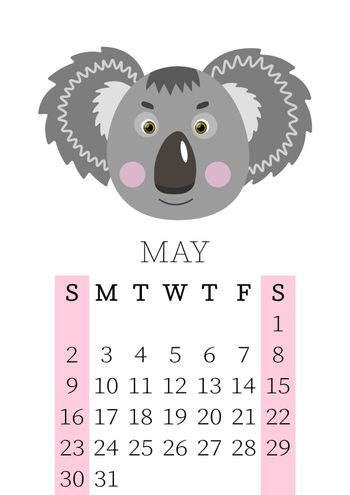 Calendar 2021. Monthly calendar for May 2021 from Sunday to Saturday. Yearly Planner. Templates with cute hand drawn face animals. Vector illustration. Great for kids. Calendar page for print.