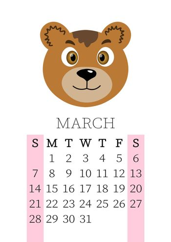 Calendar 2021. Monthly calendar for March 2021 from Sunday to Saturday. Yearly Planner. Templates with cute hand drawn face animals. Vector illustration. Great for kids. Calendar page for print.