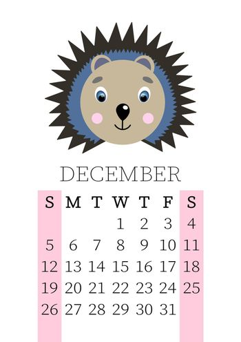 Calendar 2021. Monthly calendar for December 2021 from Sunday to Saturday. Yearly Planner. Templates with cute hand drawn face animals. Vector illustration. Great for kids. Calendar page for print.