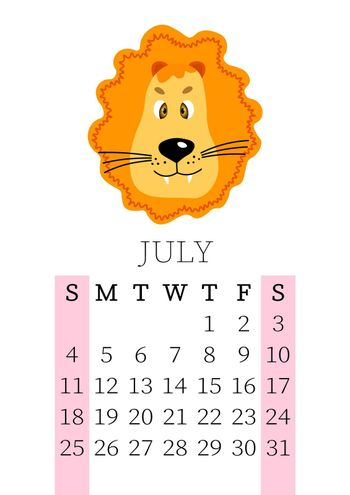 Calendar 2021. Monthly calendar for July 2021 from Sunday to Saturday. Yearly Planner. Templates with cute hand drawn face animals. Vector illustration. Great for kids. Calendar page for print.