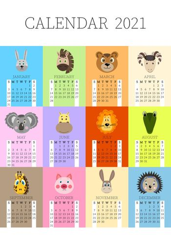 Calendar 2021. Monthly calendar 2021 from Sunday to Saturday. Yearly Planner. Templates with cute hand drawn face animals. Vector illustration. Great for kids. Calendar page for print.