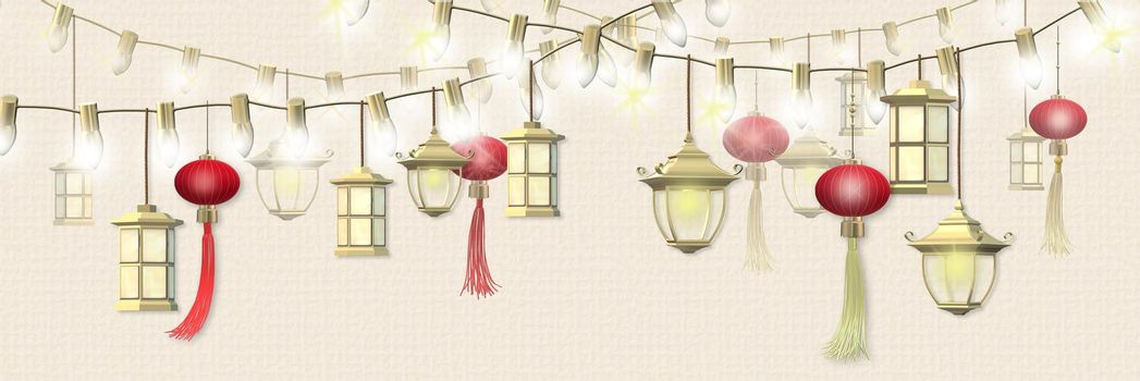 Happy Lantern festival. Spring Chinese festival design. Oriental Asian traditional lanterns on string of lights on pastel yellow background. Place for text, Horizontal 3D illustration