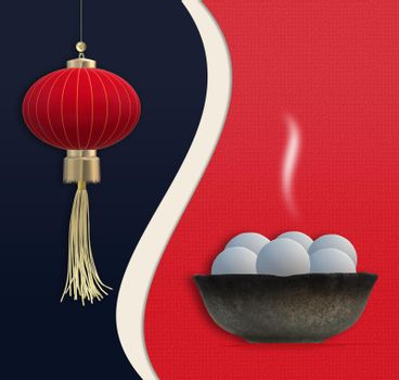 Chinese Lantern Festival. Chinese New Year. Food dumplings in bowl, Asian lantern. Template for Chinese New Year Lantern festival celebration. Copy space, mock up. 3D illustration