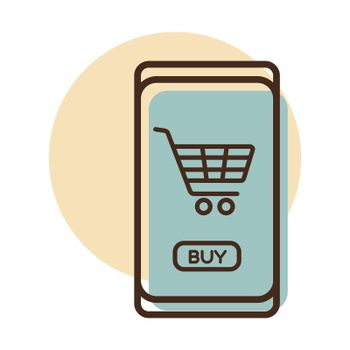 Mobile phone shopping or online shopping with cart flat vector icon. E-commerce sign. Graph symbol for your web site design, logo, app, UI