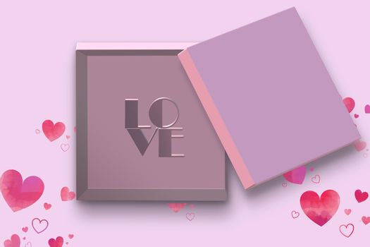 Open gift box. Pink open box, text love on pink background. Valentines, love design Sale, surprise, gift, birthday, wedding, Valentines, loves template. Mock up, Flat lay, top view 3D render