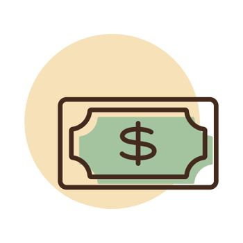 Dollar money banknote icon. E-commerce sign. Graph symbol for your web site design, logo, app, UI. Vector illustration, EPS10.