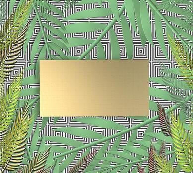 Tropical leaves on dark blue background. Gold gift label for mock up. Exotic botanical design. Mock up. 3D illustration