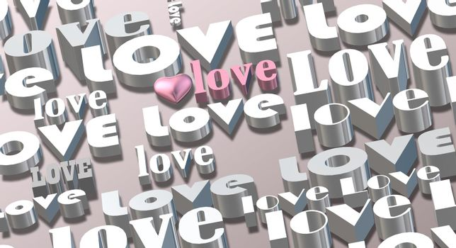 Gold multi words LOVE on pastel pink background, 3D pink heart. Valentines, Love, party invitation, mothers day, 8th March, wedding, greeting card. Place for text. Elegant pink love design. 3D render