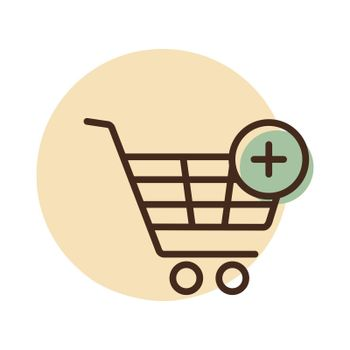 Shopping cart icon with plus. Add from cart. E-commerce sign. Graph symbol for your web site design, logo, app, UI. Vector illustration, EPS10.
