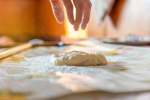 baker prepares the dough on table