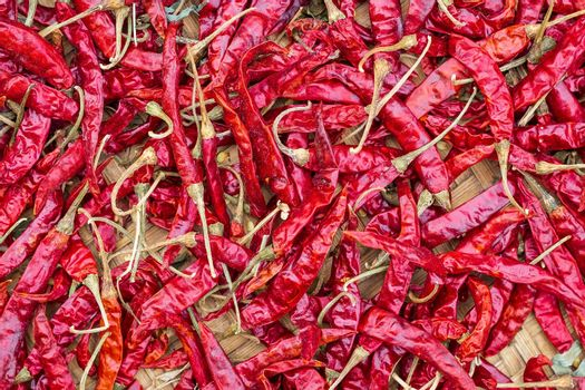 Closeup Pile of air-dried red chili peppers background. Hot and spicy dry red chillies.