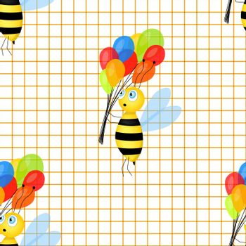 Seamless pattern with Cartoon cute bee mascot. A cheerful bee with colorful balloons on grid paper background. Small wasp. Vector character. Insect icon. Holiday design for invitation, cards, school.