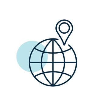 Globe with pin vector icon. Navigation sign. Graph symbol for travel and tourism web site and apps design, logo, app, UI