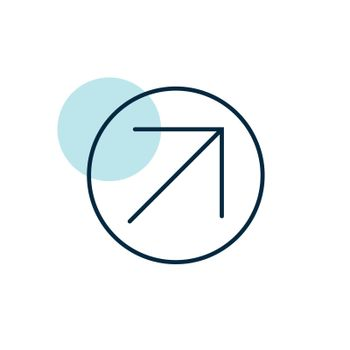 Arrow right top vector icon. Navigation sign. Graph symbol for travel and tourism web site and apps design, logo, app, UI