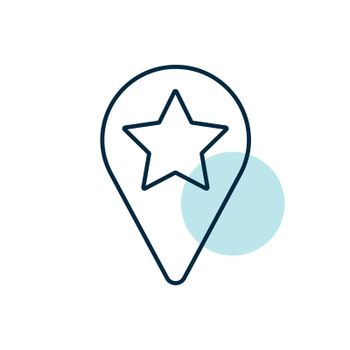 Star favorite pin map icon. Map pointer. Map markers. Navigation sign. Graph symbol for travel and tourism web site and apps design, logo, app, UI